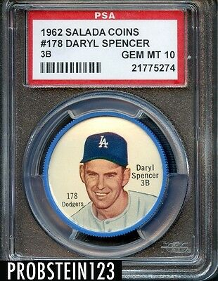 1962 Salada Tea Coin Junket #178 Daryl Spencer 3b Psa 10 Gem Mint Pop 1 Only