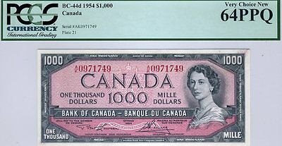 Canada, $1000, 1954, Bc-44d, Qeii, Pcgs Very Choice New 64 Ppq