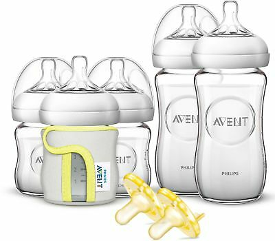 Philips Avent Natural 5-pack Glass Wide Neck Bottle Newborn Starter Gift Set