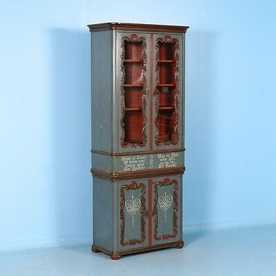 Antique Bookcase / Display Cabinet From Denmark With Original Blue / Grey Paint
