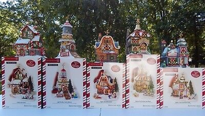 Dept 56 North Pole Series C-l-a-u-s Buildings Set Of 5 15th Anniversary Edt New