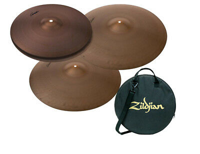 "zildjian a avedis series 15"" hi hats, 18"" crash and 22"" ride cymbal bundle w/ bag"