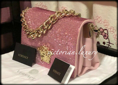 brand new! versace suede crystal palazzo evening pink bag / clutch