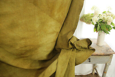 Linen Sheet Antique French Dyed Gold Chartreuse Heavy Throw 76 X 93 Inches