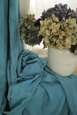 Linen Sheet Antique French Dyed Blue Heavy Throw Blanket Textile 90 X 75 Inches