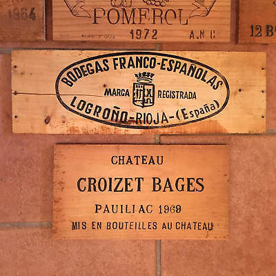 Wood Wine Crates (5) French (1) Spanish, Branded Ends, Vintage 60s, 70s.