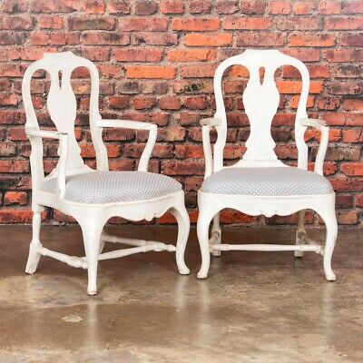 Pair Of Antique White Country Rococo Armchairs From Sweden