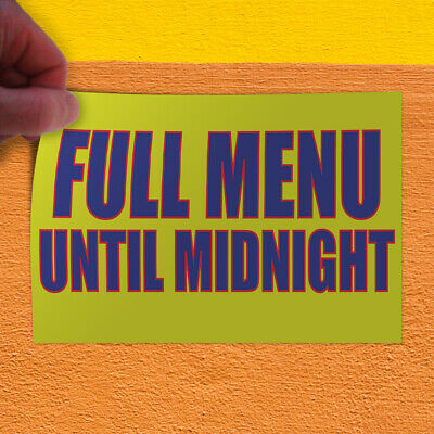 Decal Sticker Full Menu Until Midnight Restaurant & Food Outdoor Store Sign