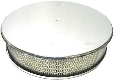 """14"""" X 3"""" Chrome Aluminum Smooth Round Air Cleaner W/ Filter 4 Barrel Ford Chevy"""