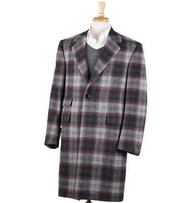 Nwt $4495 Oxxford Charcoal-light Gray Plaid Wool-cashmere Overcoat 40 R Coat