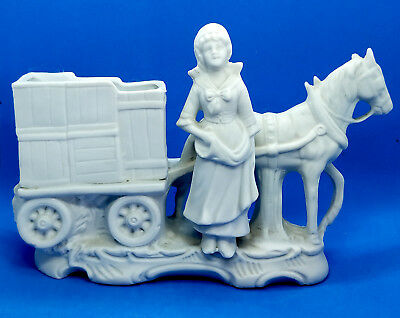 Figurine Young Girl With Horse Vintage Ceramic Porcelain Bisque Gemiany Italy
