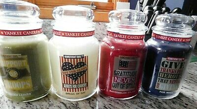 4 Yankee Candle Homefront Girl Military Collection 22 Oz Jars Each White Lables