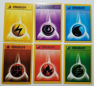 6x Pokemon Base /102 Energy Cards - VLP / NM - Fire Grass Fighting Water Psychic