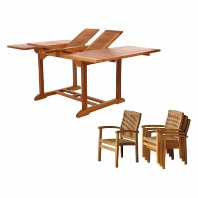 All Things Cedar Teak 5 Pc. Patio Dining Table Set With Butterfly Extension
