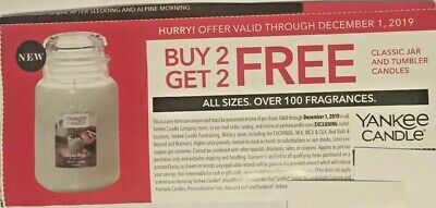 Yankee Candle Coupon Code Buy 2 Get 2 Exp.12/1/19 All Size Jar & Tumbler Candles