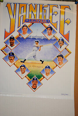 Joe Dimaggio Signed Yankee Legends Poster Limited Edition Coa Ford Mantle More