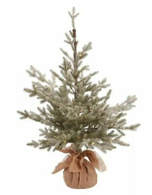 3ft Flocked Pre-lit Christmas Tree Potted Balsam Fir Warm White Dew Dew Drop Led
