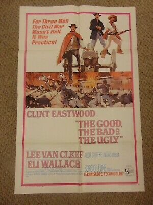 """the good the bad and the ugly 1968 clint eastwood 27x41"""" poster n7907"""