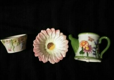 Lot Of Three Yankee Candle Garden Theme Votive /tealight Candle Holders