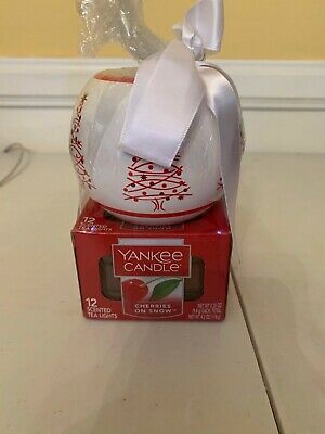 Yankee Candle Scented 12 Tea Lights Cherries On Snow With Holder  New  C50