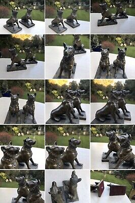 Amazing Antique Solid Bronze Pair German Shepherd Guard Dog In Siting Position