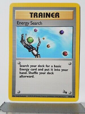 Energy Search 59/62 PL RARE 1999-2000 Fossil 3rd Printing Red Logo Pokemon Card