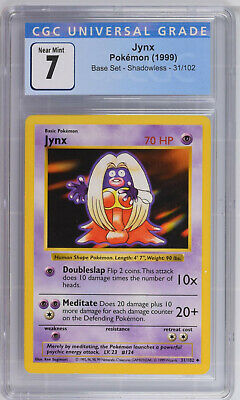 1999 Pokemon Base Set Shadowless 31/102 Jynx CGC 7 Near Mint PSA