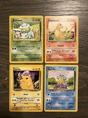 Pokemon 1999 Base Set Unlimited Starters Squirtle Bulbasaur Charmander pikachu