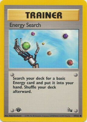 Pokemon Card - Fossil 59/62 - ENERGY SEARCH (common) **1st Edition** - NM