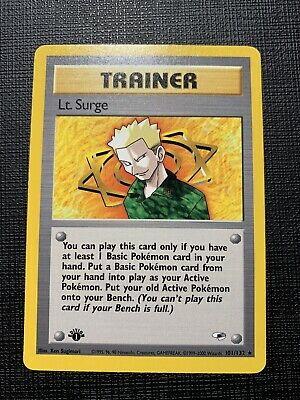 Pokemon - Gym Heroes 1st Edition - Lt. Surge Rare 101/132 Near Mint