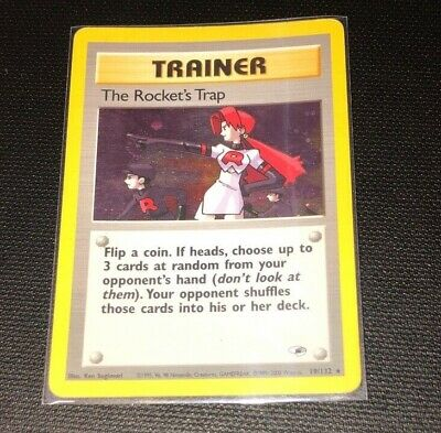 The Rocket's Trap 19/132 HOLO Gym Heroes Pokemon Card USED