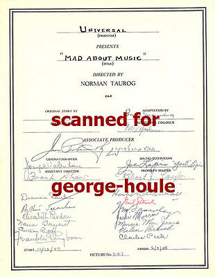 Deanna Durbin - Cast Sheet - Signed - Mad About Music -1938 - Norman Taurog - Aa