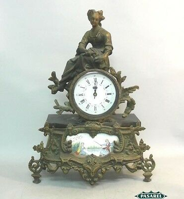French Bronze And Porcelain Shelf Mantle Clock Ca 1900
