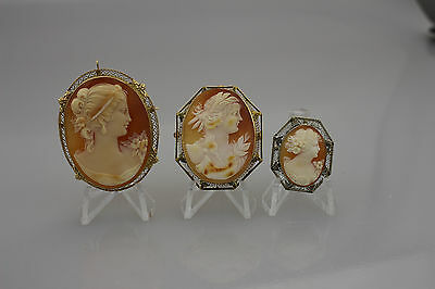 Lot Of 3 Vintage Cameo Pin / Pendent Set In 14kt Gold 31.1 G Total Weight