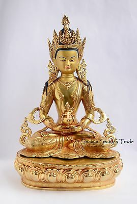 """Fine Quality Gold Face Painted 20"""" Aparmita Buddha Copper Gold Gilded Statue"""