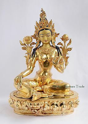 """Good Quality Gold Face Painted 18"""" Green Tara Copper Gold Gilded Statue Patan"""