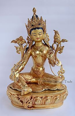"""Fine Quality Gold Face Painted 20"""" Green Tara Copper Gold Gilded Statue Patan"""