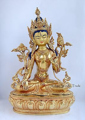 """Fine Quality Hand Carved Painted 20"""" White Tara Dolkar Gold Gilded Copper Statue"""