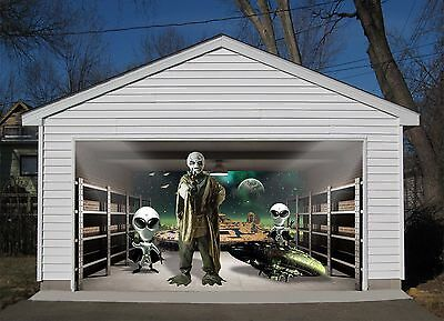 3d Alien Garage Door Murals Wall Print Decal Wall Deco Aj Wallpaper Au