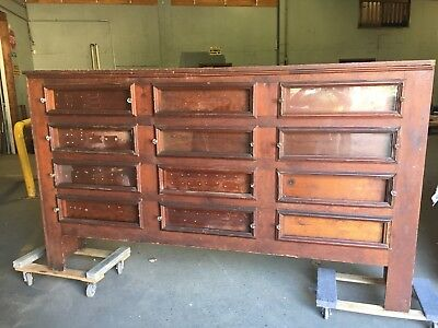 "19th century primitive country store seed bin cabinet pine 101"" x 59"" x 18"""