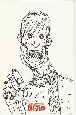 Walking Dead Hand-drawn Artist Sketch By Robert Kirkman By Cryptozoic