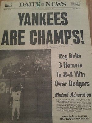 Ny Yankee Manager Billy Martin Signed Ny Post 1977 World Series Game 6 Jax 3 Hr