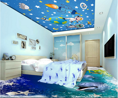 3d Universe Alien Cartoon 2 Ceiling Wall Paper Wall Print Decal Wall Deco Aj