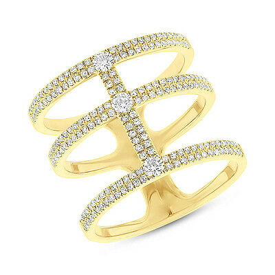 .59ct 14k Yellow Gold 3 Connecting Band Diamond Statement Ring Designer Inspired