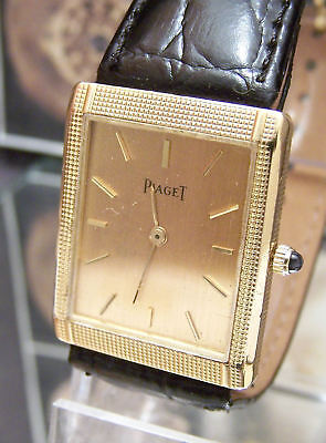 Vintage C1981 Solid 18k Gold Piaget Cal 9p Gold Dial Small Mans / Ladys Watch