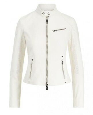 $3,490 ralph lauren purple label collection cafe racer cream leather moto jacket