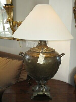 Pair Of Large Antique Russian Copper Samovar Lamps With White Linen Shades
