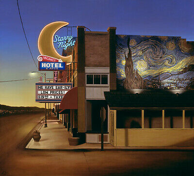 Ben Steele Starry Night Hotel Giclee On Canvas 43x39