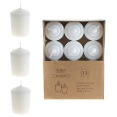 Ddi 1489365 12-piece 15 Hours Unscented Votive Candles - White Case Of 24