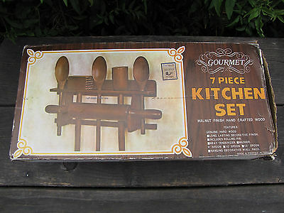 Vtg Wooden Kitchen Set Utensils And Wall Mount Rack Spoons Mallet Rolling Pin